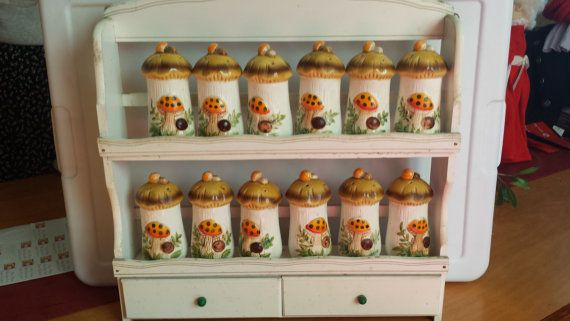 Merry Mushroom Spice Rack with  12 Spice Containers and 24 Spice Labels Never Used on Etsy, $70.00