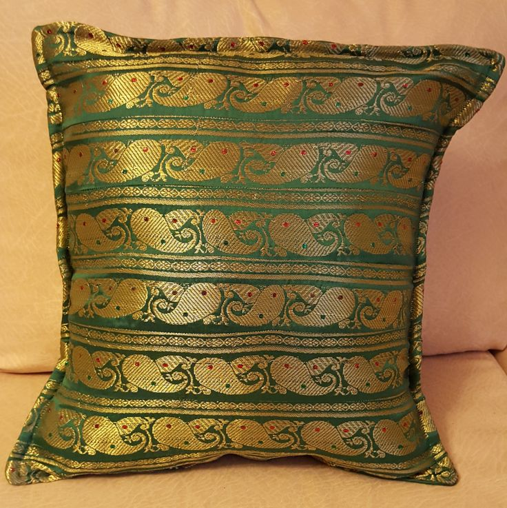 Silk Cushion Cover, pillow cover, sofa cushion cover 14 inches X 14 inches (36 cm x 36 cm) by KalaaStudio on Etsy