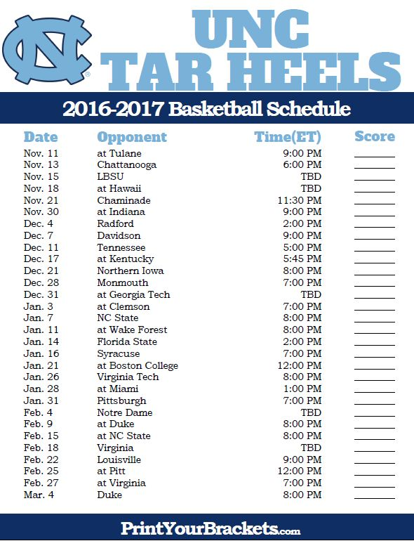 North Carolina Tar Heels 2016-2017 College Basketball Schedule