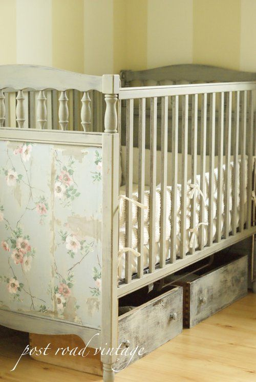 Shabby Chic Crib Redo & using drawers for extra storage under the crib...