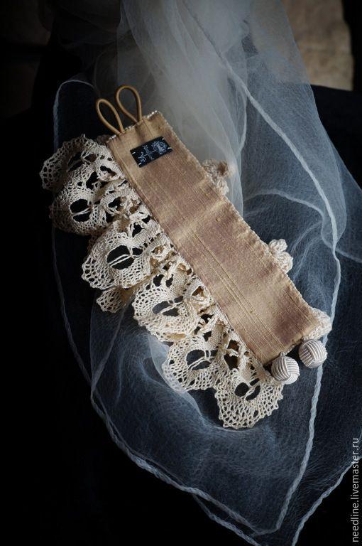 """Купить браслет-манжета """"Прованс"""" - бежевый, вышитый браслет, цветы, авторская ручная работа"""