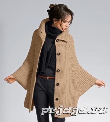 Пальто-пончо спицами