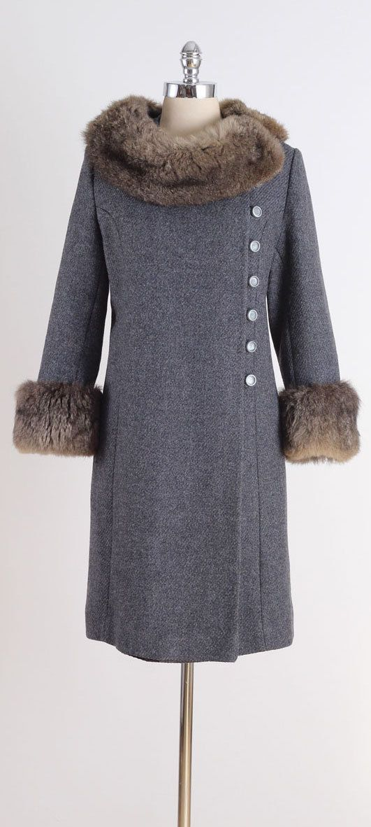 vintage 1960s coat . charcoal gray wool . by millstreetvintage
