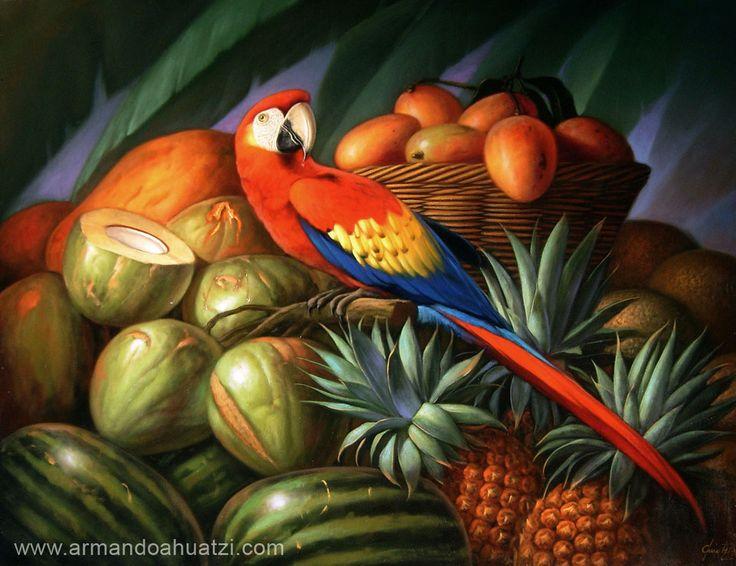 Guacamaya con frutas, oleo sobre tela, Armando Ahuatzi