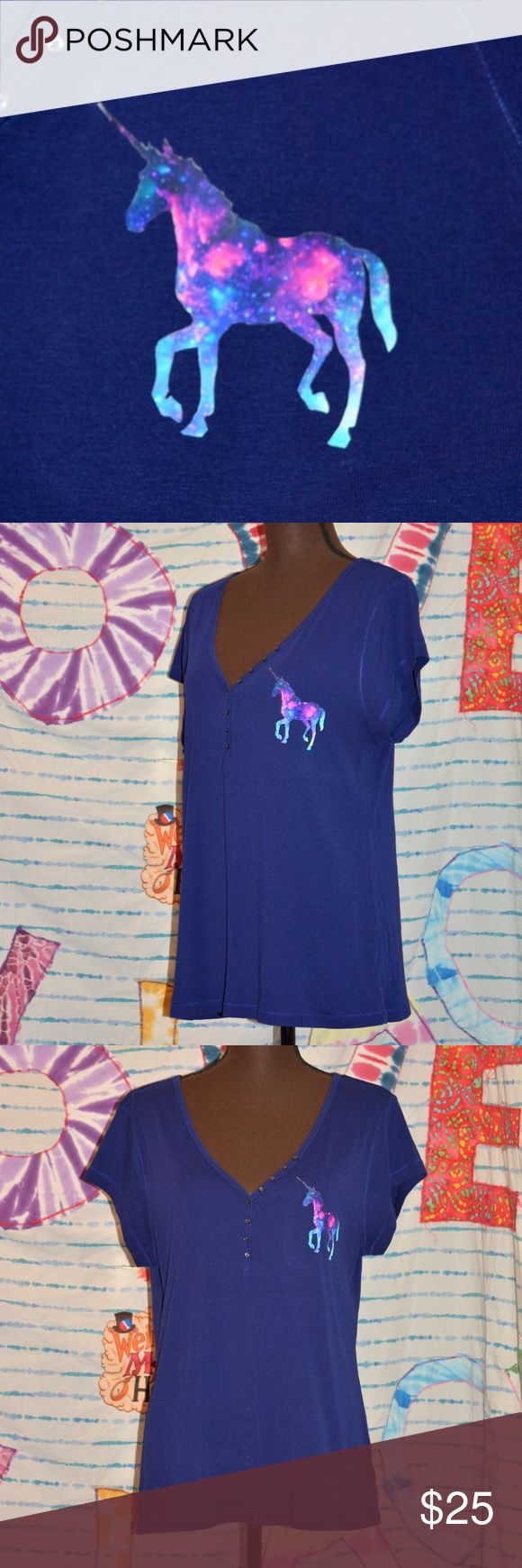 Galactic Unicorn XXL Super Soft Tee Shirt Blue 2X This amazing electric blue galactic tee is super soft and stretchy and fits size XXL! Features an amazing galaxy unicorn on the breast to show your inner mystical creature! This is a one of a kind creation, which means you will be the only person in the world wearing this beautiful masterpiece!  Measures: Bust: 40 inches Waist: 38 inches Hips: 46 inches Length: 27 inches  Care directions: Machine washable in cold water inside out. Line dry…