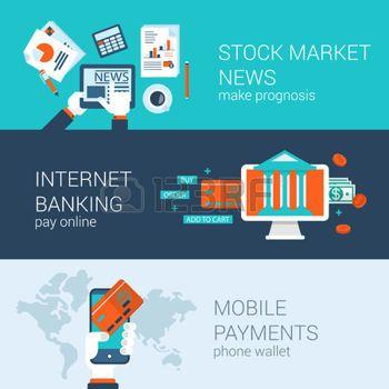 actions: En ligne concept d'entreprise mobiles icônes plates Banners Set modèle paiements bancaires sur Internet de nouvelles de marché boursier vecteur de commande web illustration site clic foot éléments.