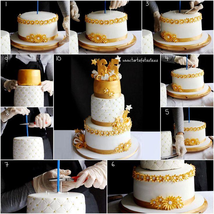 TartaFantasía: Cómo montar una tarta de varios pisos. Segunda parte Tarta Dorada.