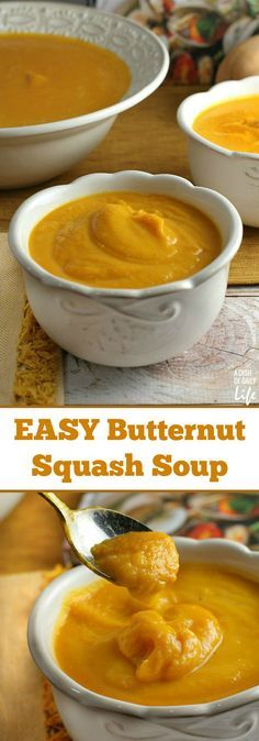 This delicious easy Butternut Squash Soup recipe is perfect for your fall, winter, Thanksgiving or Christmas dinner menu! It's smooth and rich, with gourmet taste, yet simple to make, with only 6 ingredients! Freeze any leftovers for later.