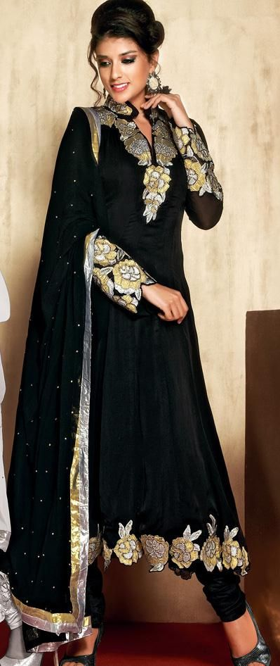 $102.87 Black Satin Resham Work Anarkali Salwar Suit 26321