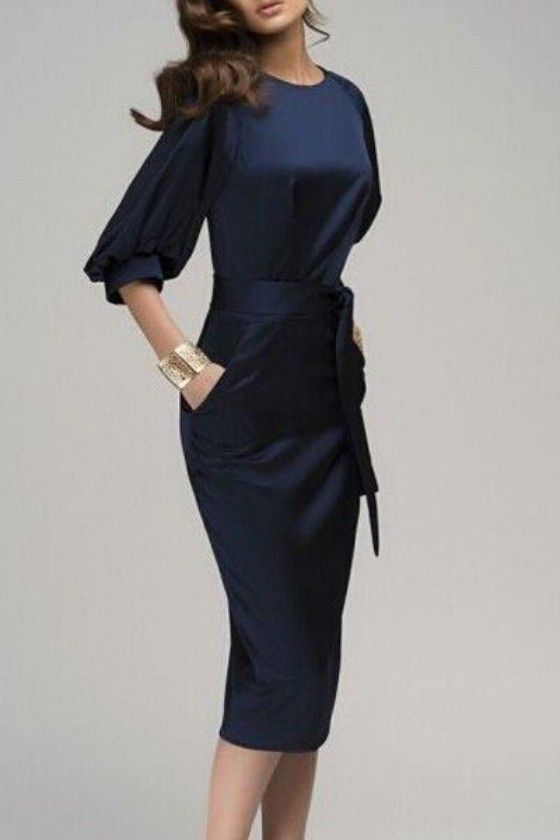 Navy Blue Belt Elbow Sleeve Fashion Midi Dress - Dresses