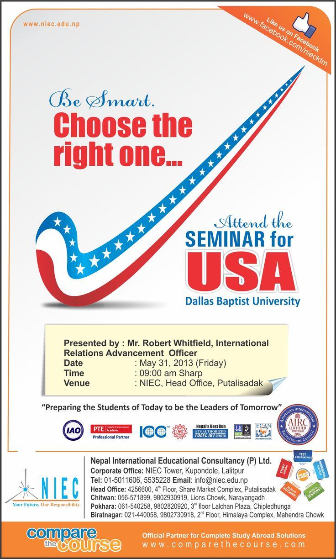 Seminar for USA (Print ad) | Usa print, Seminar, Print ads