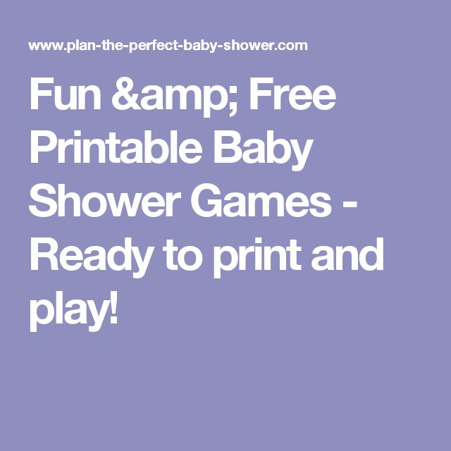 Fun & Free Printable Baby Shower Games - Ready to print and play!