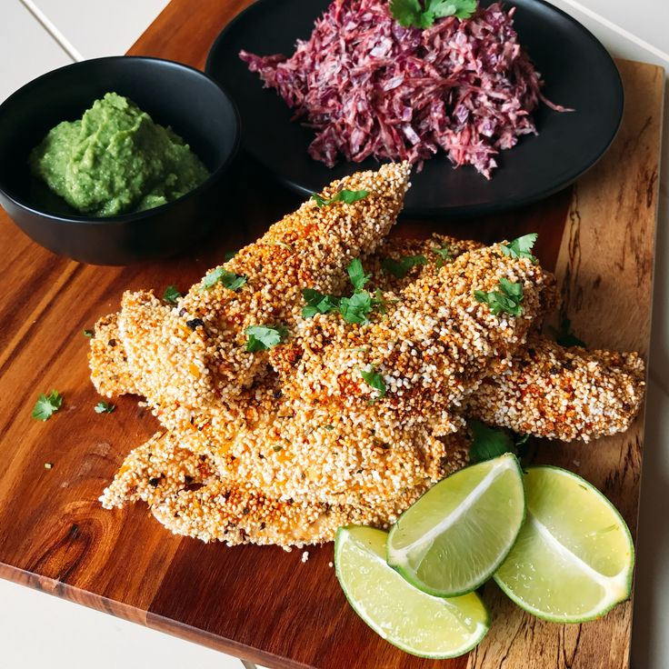 Amaranth Crusted Chicken Tenders with Purple Slaw & Green Sauce (gluten free)