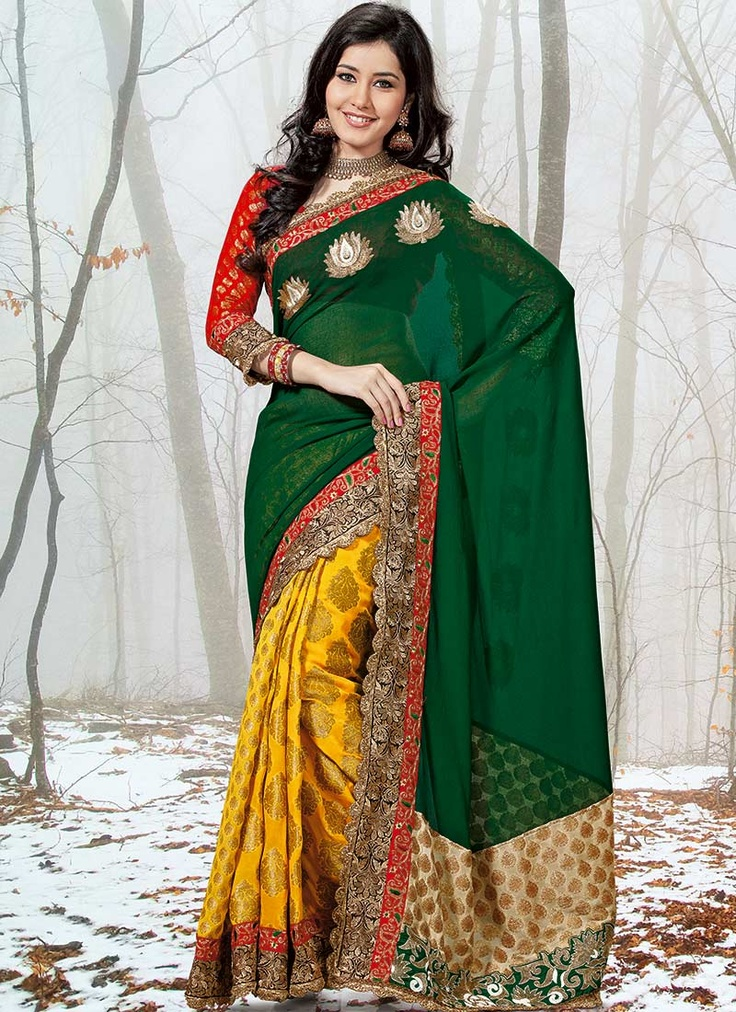 Incredible Green Chiffon Half And Half Saree : Cbazaar