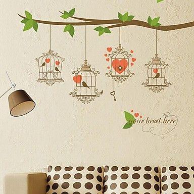 seinä tarroja Seinätarrat, vuosikerta sydän linnut avain pvc seinä tarroja – EUR € 11.51