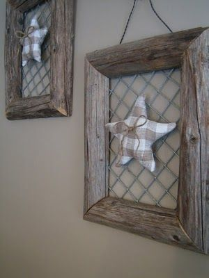 Make frames from old hay poles and metal net. Add decor and hang. From blog…