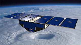 A winged Pegasus rocket boosted eight small satellites into orbit Thursday to measure hurricane wind speeds from space