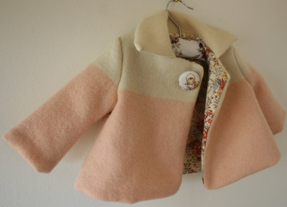 Piccalilli Wool Blanket Coat Made to Order Pink by PiccalilliKids, $95.00