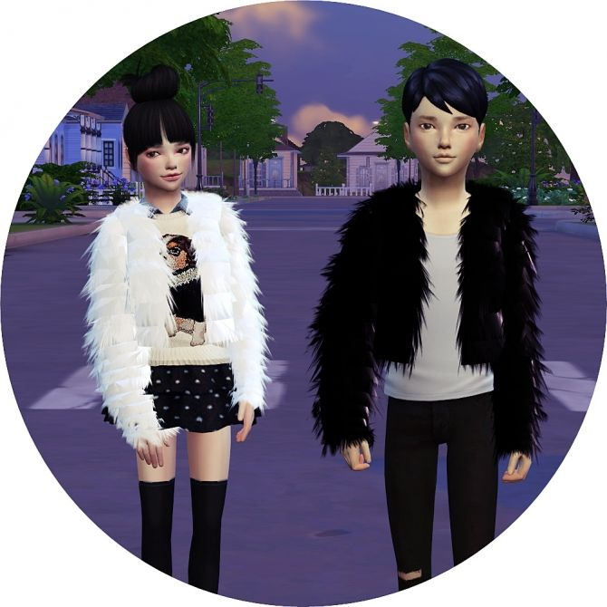 Child Acc Fur Jacket at Marigold via Sims 4 Updates