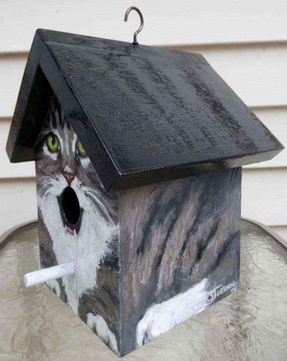 Birdhouse. This Bird House Is A Handpainted EXAMPLE Of A Grey Tabby Cat  With A