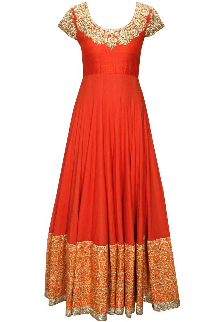 Orange kundan embellished kalidaar kurta set available only at Pernia's Pop-Up Shop.