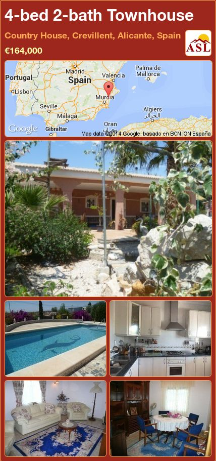 4-bed 2-bath Townhouse in Country House, Crevillent, Alicante, Spain ►€164,000 #PropertyForSaleInSpain