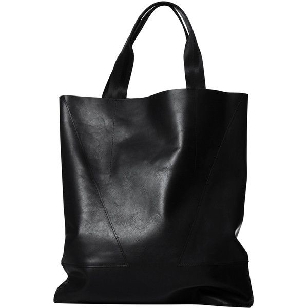 London Edit Black Leather Tote Web Handle found on Polyvore