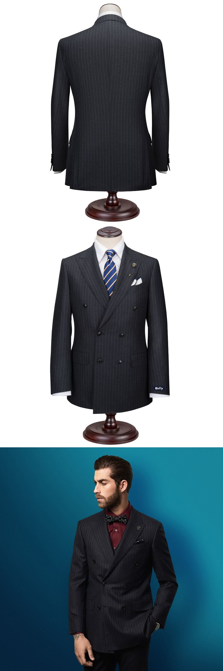 Custom made suit Tailor Made to measure Set Black Striped wool wedding suits for bridegroom slim classical Free Embroidery