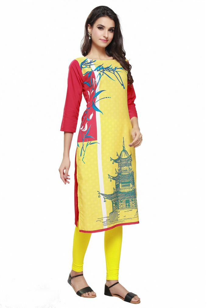 Readymade Light Yellow And Red Poly Crepe Printed long Kurti #longkurti #partywear #beautiful #Trendy #top #kurti #kurta #readymade #printed #kurtionline #womenwear #womenclothing #nikvik #usa #uk #uae #freeshipping Sign up and get USD100 worth vouchers.Price-US$37.41