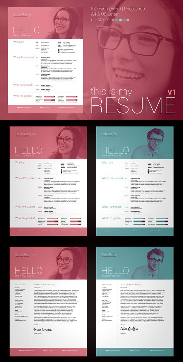 Word / Photoshop / inDesign Resume & Cover Letter Template. Professional, modern design #resume #cv #template