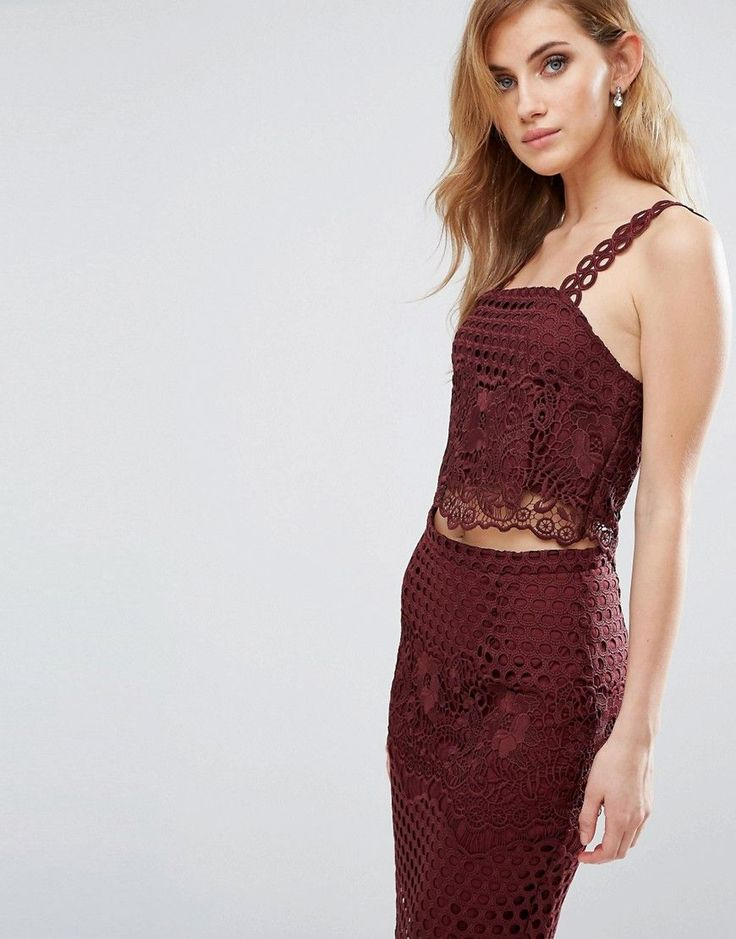 Buy it now. New Look Premium Lace Crop Top Co-ord - Red. Top by New Look, Floral lace overlay, Square neck, Fully lined, Cut-out straps, Cropped length, Zip back, Slim fit - cut close to the body, Machine wash, 100% Polyester, Our model wears a UK 8/EU 36/US 4. ABOUT NEW LOOK Transforming the coolest looks straight from the catwalk into wardrobe staples, New Look joins the ASOS round up of great British high street brands. Get it or regret it with its weekly drops of essential coats…