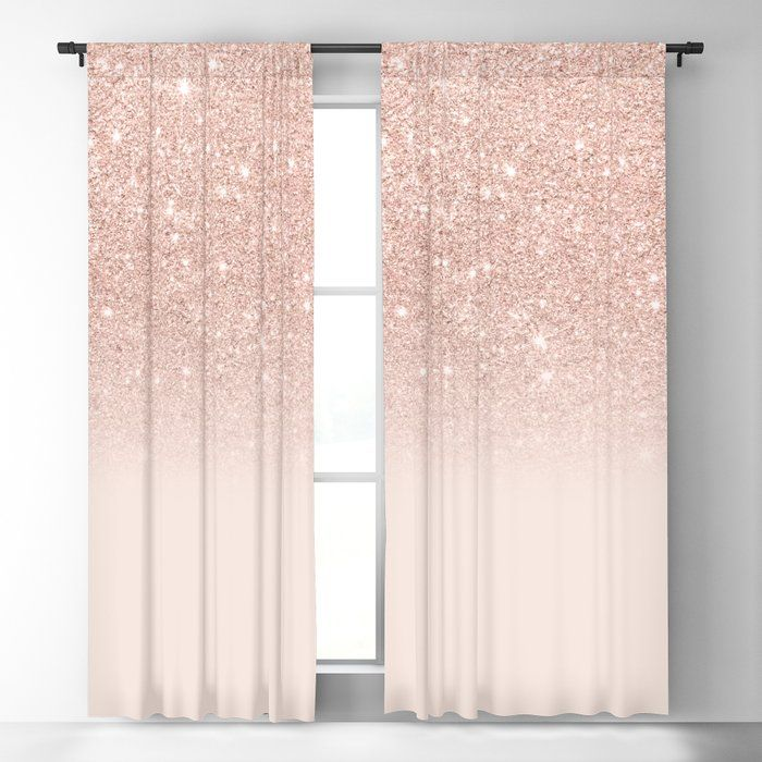 Rose Gold Faux Glitter Pink Ombre Color Block Blackout Curtain By Girlytrend Society6 Rose Gold Curtains Gold Curtains Bedroom Pink And Gold Curtains