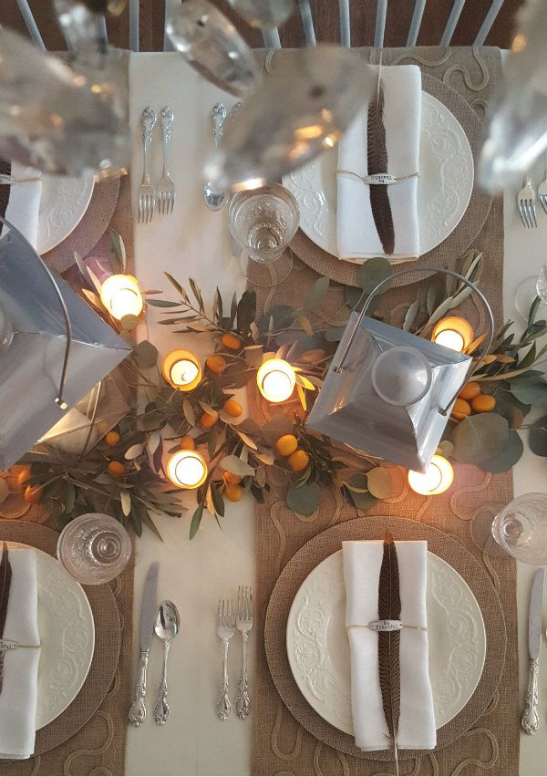 Thanksgiving tablescape by candle light