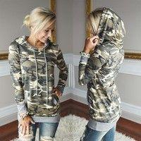 Wish | Fashion Women Winter Plus Size Camouflage Hoodies Sport Sweatshirt Slim Jumper Hooded Tops