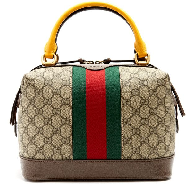 Gucci GG Supreme canvas and leather bag (£1,345) ❤ liked on Polyvore featuring bags, handbags, gucci, brown purse, striped purse, brown handbags, top handle handbags and structured handbags