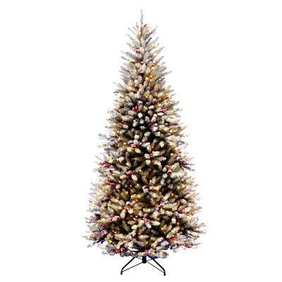 Three Posts Fir Pre-Lit 7.5' Slim Artificial Christmas Tree with 600 Pre-Lit Snow Lights with Stand