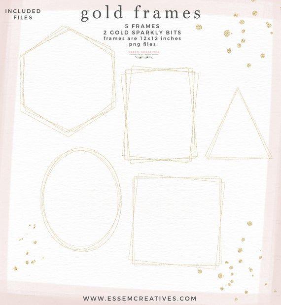 Gold Geometric Frame Clipart Gold Glitter Frame Clip Art Etsy Frame Clipart Glitter Frame Gold Geometric