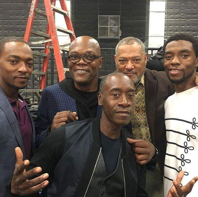 1 Mcu News Tweets On Twitter Falcon Nick Fury War Machine Goliath And Black Panther All Together Today At The M Marvel Actors Marvel Marvel Avengers
