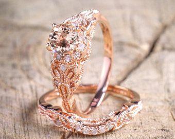 Limited Time Sale 1.50 carat Round Cut Morganite and Diamond Halo Bridal Wedding Ring Set in Rose Gold: Bestselling Design Under Dollar 400