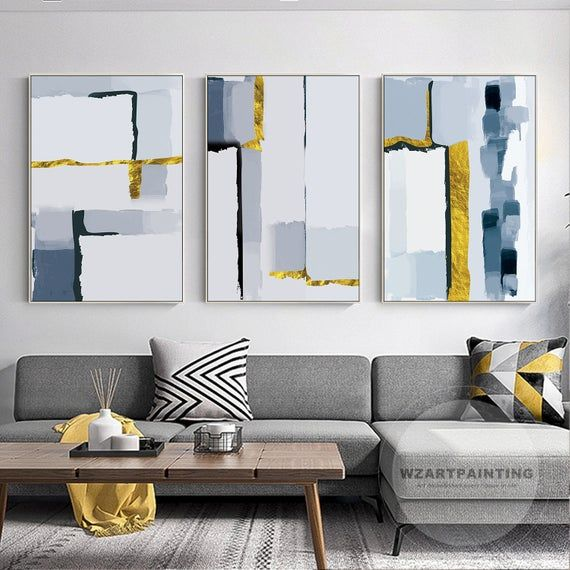 Set Of 3 Prints Modern Abstract Gold Navy Blue Print Painting Prints On Canvas Luxury Wall Art Pictu Luxury Wall Art Blue Wall Art Frames On Wall