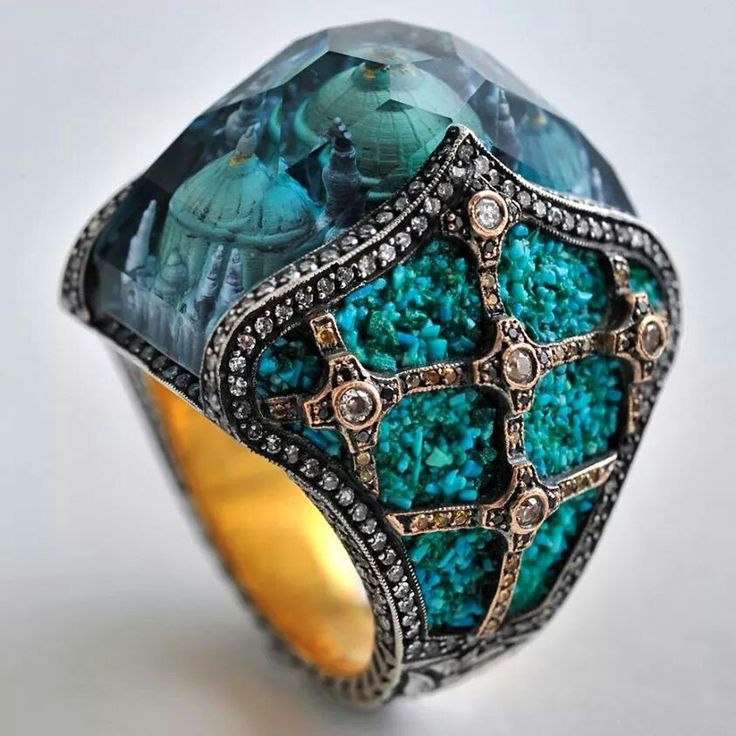 Rosamaria G Frangini | High Blue Jewellery | Sevan Biçakçi gold and silver Scheherazade's Palace ring featuring diamonds, mosaic with turquoise tesserae and a blue tourmaline with an inversely engraved intaglio.