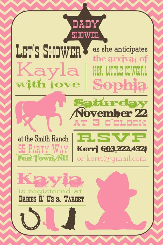 Cowgirl Baby Shower Invitation - Cowgirl Shower Invite - Pink Brown Green - Baby Shower Girl - Cowgirl Hat Boots Horse Horseshoe