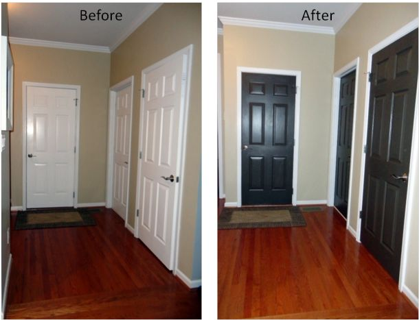 doors before and after  Valspar color: Bark 42001