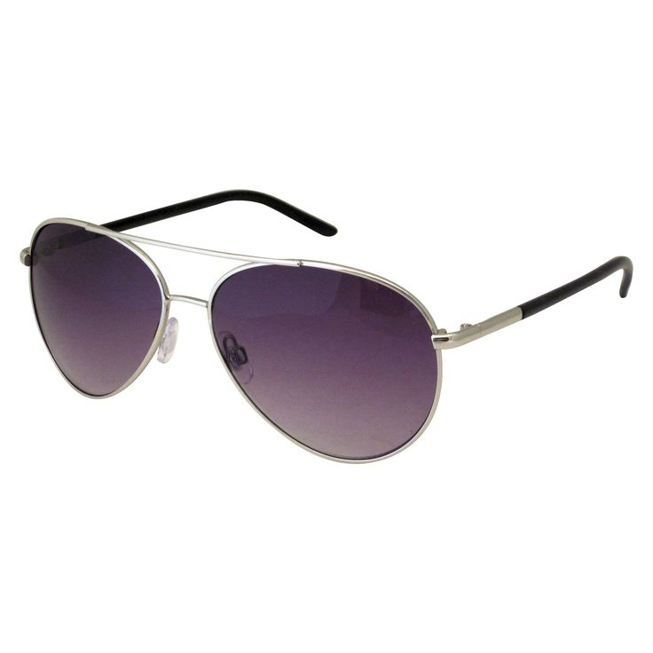 Women's Metal Aviator Sunglasses - Smoke (Grey)