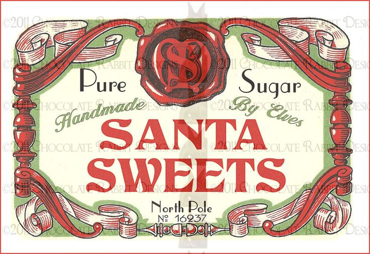 Vintage Christmas Candy Label Digital Download Printable Image Santa Collage Scrapbook Sheet. $2.25, via Etsy.