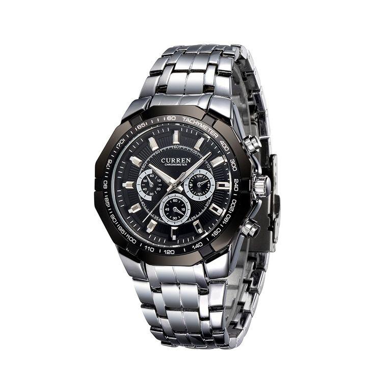 black CURREN Luxury Quartz Wristwatch Silver Watchband Fashion - Tomtop.com