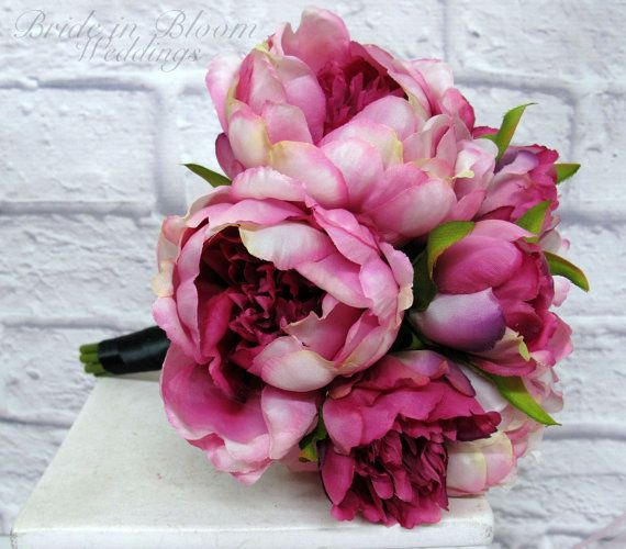 Peony bridesmaid bouquet Fuchsia and black by BrideinBloomWeddings