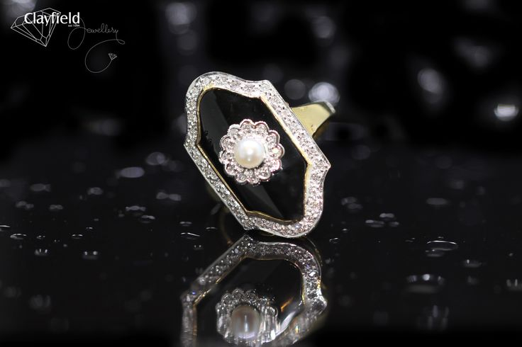Pearl, onyx and diamond ring by Clayfield Jewellery, Jewellery store based in Nundah Village, North Brisbane