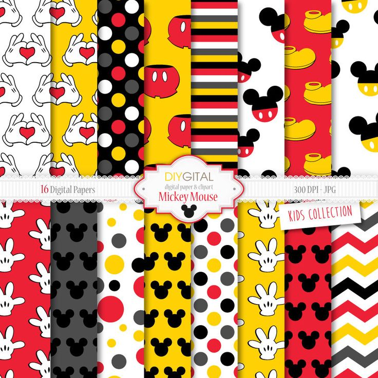 """Mickey Mouse Inspired Digital Paper """"MICKEY MOUSE"""" with red and yellow backgrounds, Mickey shoes, hands making hearts, Mickey silhouettes. by DIYgital on Etsy https://www.etsy.com/listing/231780772/mickey-mouse-inspired-digital-paper"""