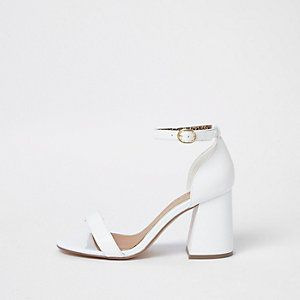 7af7da96d57 White wide fit block heel buckle sandals